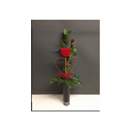 Single Red Rose In A Vase The Flower Box