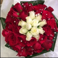 Wedding Bouquet in red & white roses