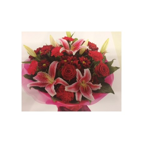 Aqua Packed Red Roses and Lilies with Mixed Flowers