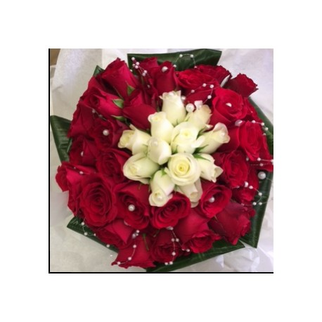 Wedding Bouquet red & whire roses